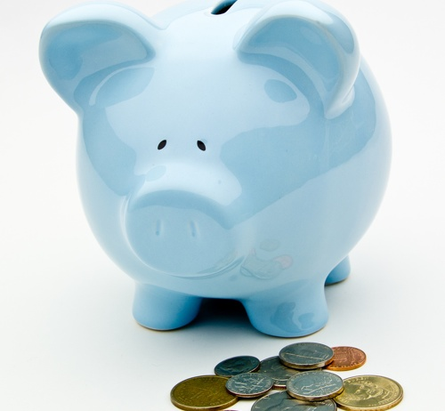 Blue Piggy Bank WIth Coins